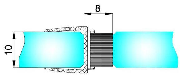 PS21H/Уплотнитель силиконовый + щётка/10 мм