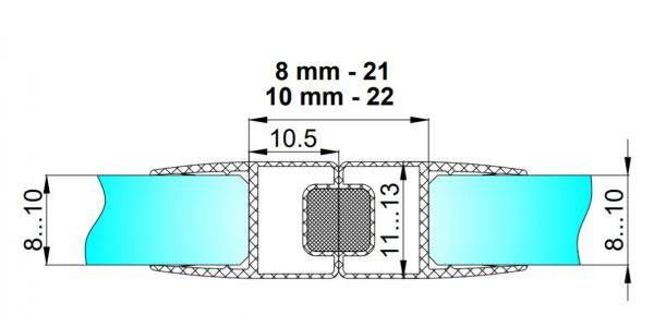 PS40M/8мм/2.5/магнит чёрный/прозрачный силикон