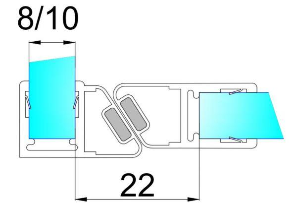 PS56M/8мм-2.5/магнит белый/прозрачный силикон