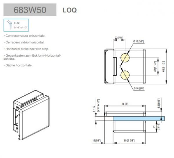 683W50/Ответная часть на стекло/глянец