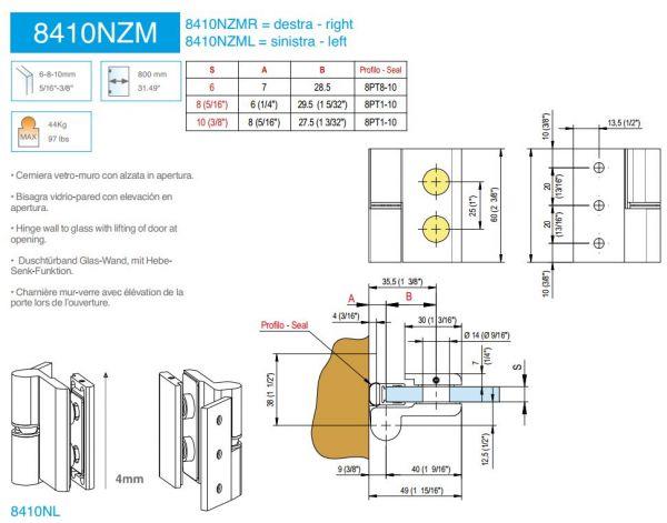 8410NZM-R/Петля без фиксации с функцией подъёма/правая/глянец