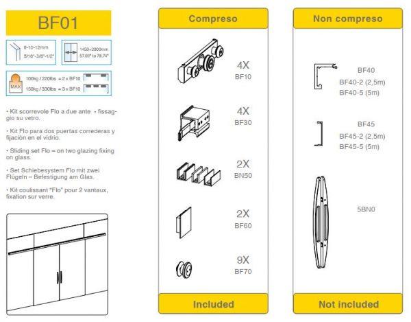 BF01/Комплект для раздвижной двери/две створки на стекло