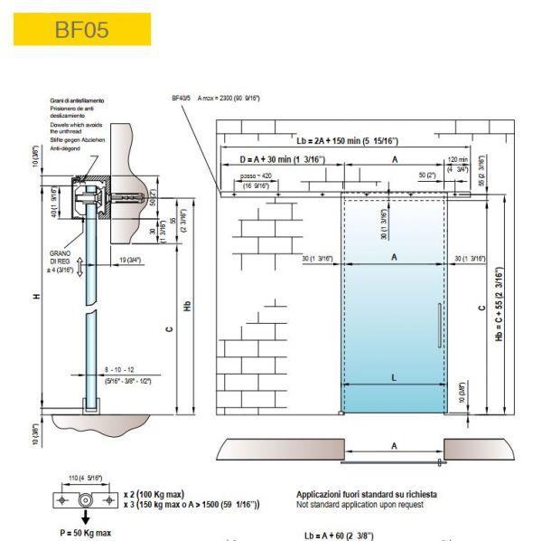BF05/Комплект для раздвижной двери/одна створка на стену