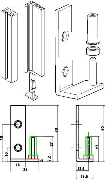 GS104/Комплект осей для крепления рамки/петли-профиль в коробку
