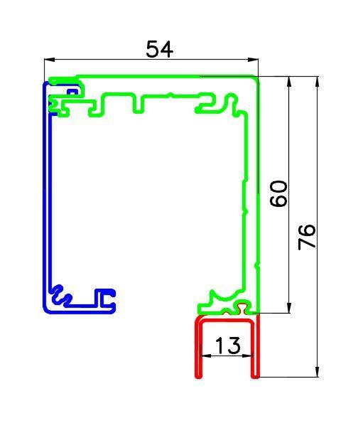 GV102/Профиль для крепления неподвижной ствроки для систем GENEVA и VALENCIA/анод