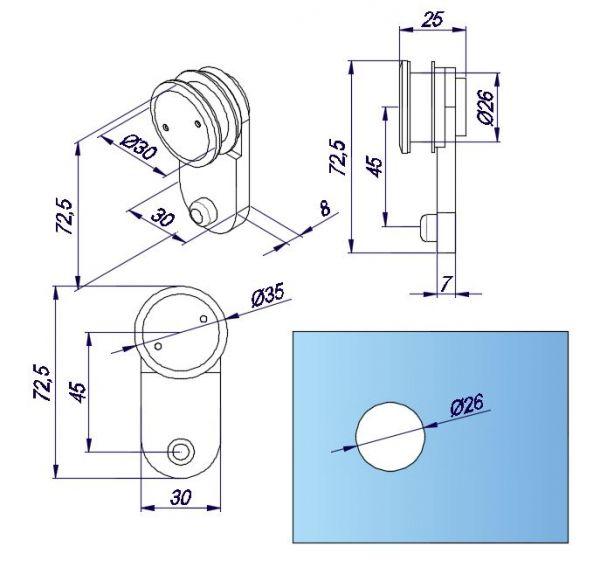 OFD6/Стопор с верхним креплением к стеклу/отверстие