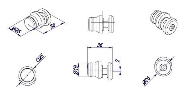 OFWS2/Black/Крепление стекло труба/система OFWS1