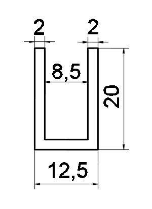 P01/8mm/глянец . Профиль алюминиевый.