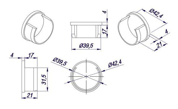 A00WP60/торцевая заглушка/матовая нерж.