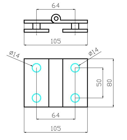 PHB759/Петля стекло-стекло без фиксации/глянец