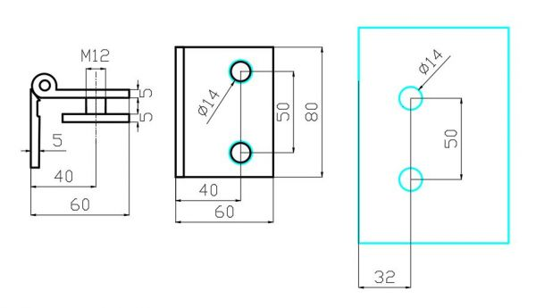 PHB750/Петля стена-стекло без фиксации/глянец