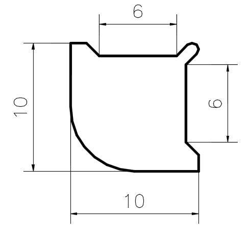 PS108/10mm/Поликорбонатовый уплотнитель угловой