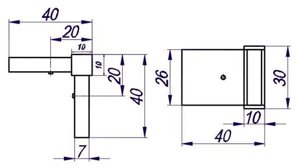 TT93Q20/CP (Глянец). Крепление для труб 30*10 под 90 градусов