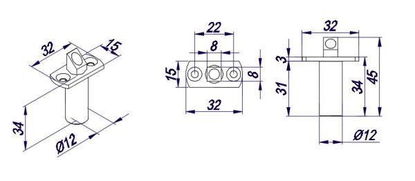 RL132BN/Верхний стопор для двухстворчатой двери