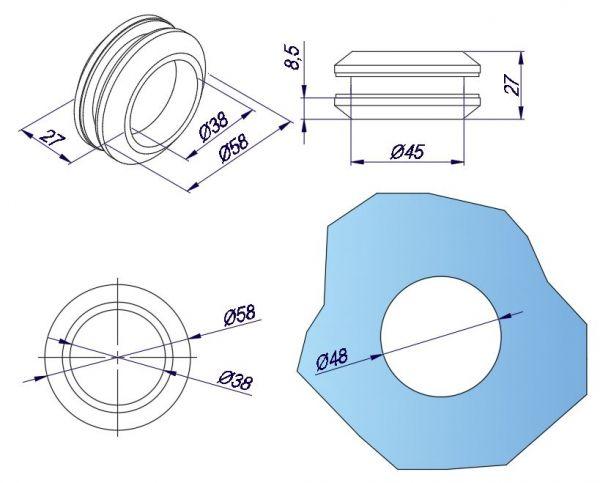 SF04/Ручка для раздвижной двери/мат. нерж.