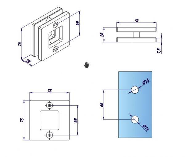 SFF847/Ручка для раздвижной двери/мат.нерж.