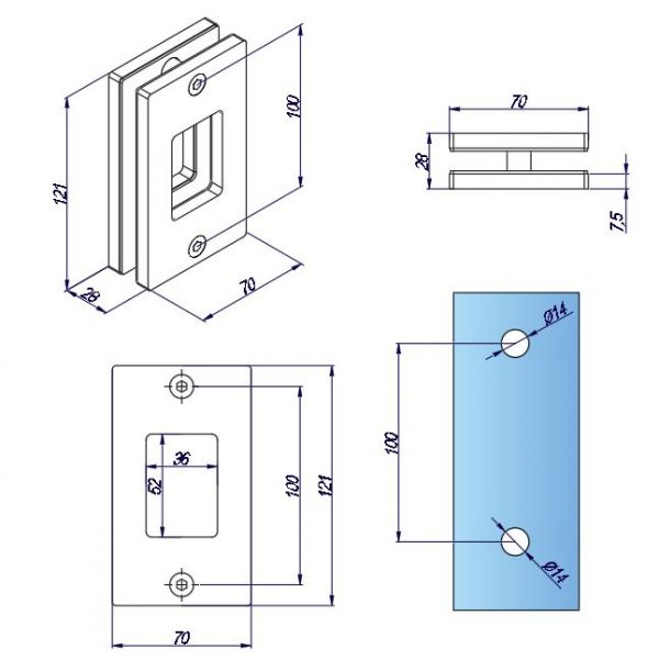 SFF848/Ручка для раздвижной двери/мат.нерж.