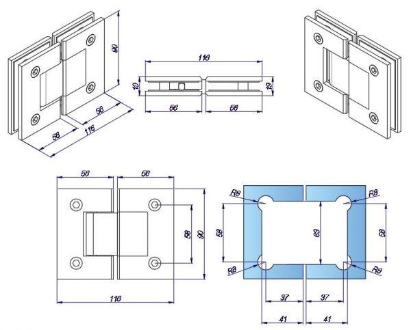 SH180B/глянец/петля стена-стекло 180 градусов с фиксацией