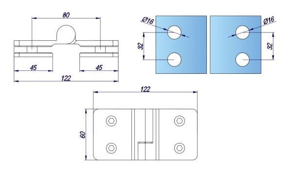 SH180M-L/Петля стекло-стекло c функцией подъёма без фиксации/левая/глянец
