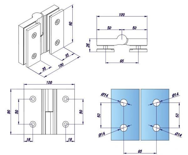 SH180S-L/Петля стекло-стекло c функцией подъёме без фиксации/ГЛЯНЕЦ (открывание - левое)