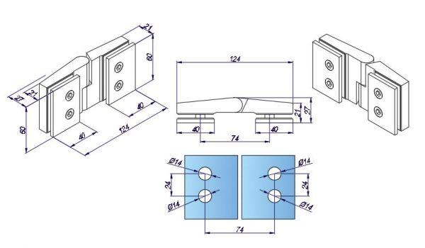 SH180W-R/Петля стекло-стекло c функцией подъёме без фиксации/ГЛЯНЕЦ (открывание - правое)