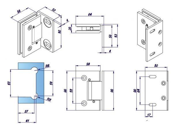 SHTB3AD/мат. нерж./Петля стена стекло c регулируемым углом фиксации