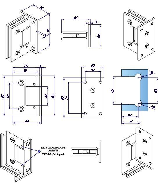 SHTBAD/мат.нерж. Петля стена стекло c регулируемым углом фиксации.