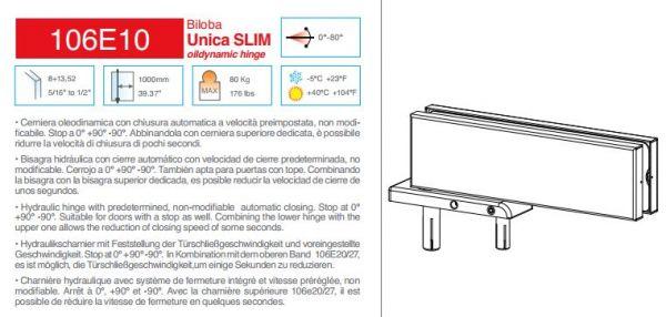 106E10NF Unica Slim/мат.нерж./Гидравлическая петля доводчик