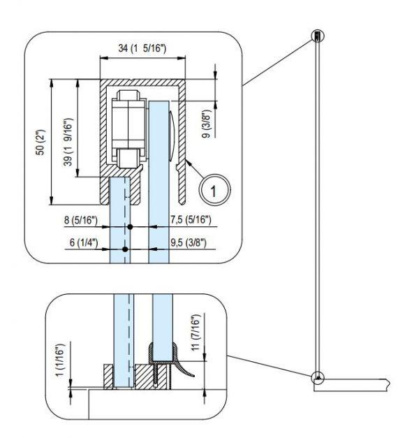 D15E30/PIUMA/Комплект для раздвижной душ. кабины/между стенами