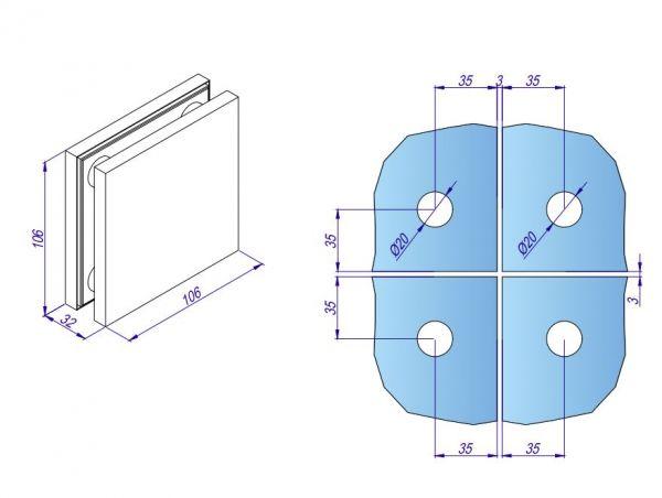 HDL122A/Фиксатор четырёх стёкол/нерж мат