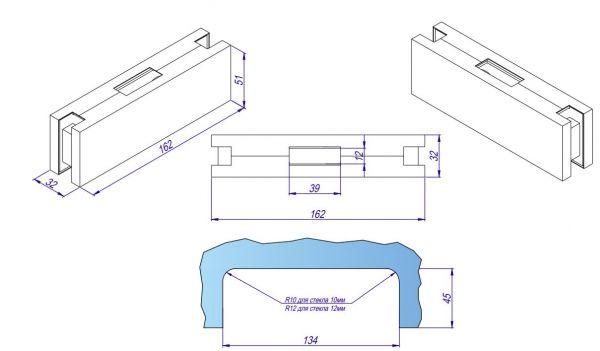HDL150K/Ответная часть замка HDL-150D на стекло/GOLD