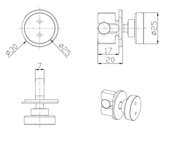TT93Q80/гляне/Крепление направляющей 30*10 к стеклу.