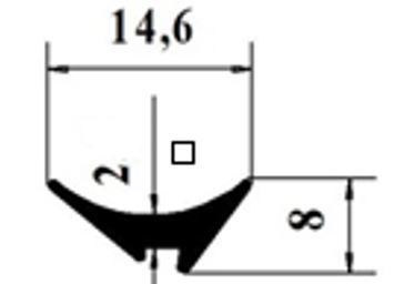 УП2/клин резина (тонкая) 2мм/черная